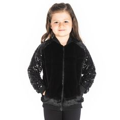 Forecasting cuddles with this party ready jacket. The sequins on the arms makes your child glamorous while the dreamily soft velvet gives her the 'furry' experience! Fabric: 100% Polyester Color: Black Length: Regular Neck: Shirt Collar Sleeve: Long Pattern-Work: Solid Washcare: Machine wash in warm water with mild detergent. Gray Jacket, Hoodie Jacket, Bomber Jacket, Girls Coats & Jackets, North Face Girls, Printed Sweatshirts, Cherry Crumble, Kids Outfits, Winter Jackets