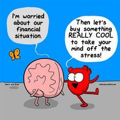 Financial Prowess Heart & Brain Cartoon The Awkward Yeti