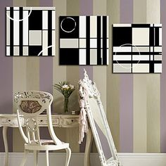 Stretched Canvas Art Abstract Black and White Squares Set of 3 – USD $ 59.99