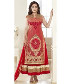Flattering Red Net Anarkali Suit With Dupatta.