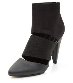 Black Contrast Cut Out Pointed Shoe Boots