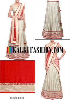 Get this beautiful lehenga here: http://www.kalkifashion.com/sand-white-lehenga-adorn-in-zari-only-on-kalki.html Free shipping worldwide.