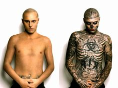 """Rick Genest from La Salle, Quebec, and grew up in Chateauguay. Over 80 percent of his body is covered in tattoos, including his face. Rick's tattoos are what he calls his """"project. Xingu, Body Adornment, S Tattoo, Body Modifications, Body Painting, Rick Genest, Culture, Graphic Design, Superhero"""