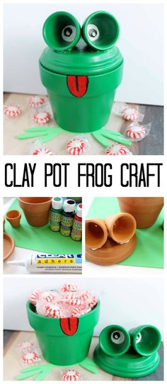 Frog Craft: Painting clay pots to look like a frog! Makes a great candy dish! Flower Pot Art, Clay Flower Pots, Flower Pot Crafts, Clay Pot Projects, Clay Pot Crafts, Craft Projects, Dyi Crafts, Craft Ideas, Flower Pot People