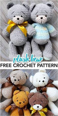 Teddy Bear Patterns Free, Crochet Bear Patterns, Crochet Animals, Amigurumi Patterns, Doll Patterns, Crochet Gratis, Crochet Dolls, Free Crochet, Crochet Baby