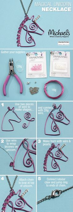 Make a magical DIY Unicorn Necklace following these easy steps.