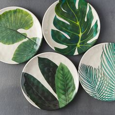 """Ideal for picnics and casual outdoor dining, this shatterproof, bamboo melamine plate is topped with a graphic, leafy print.- Bamboo fiber, melamine- Shatterproof- Dishwasher safe; do not microwave- Imported0.5""""H, 8.5"""" diameter"""
