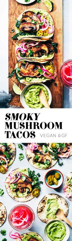 Juicy mouthwatering mushrooms, topped with pickled onions, guacamole and greens. A dozen ingredients.Taco 'bout awesome! (V+GF)