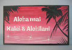 幻想的なハワイの浜辺の夜更けに浮かび上がるヤシの木のシルエットに、キラキラと反射する海面の光が組み合わさったデザイン。 #wood  #sign #wedding