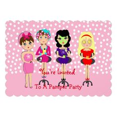 A cute invitation for all those young ladies celebrating a birthday or special occasion with a pamper or spa themed party. The four girls illustrated are certainly making the most of being pampered with, face packs, hair styles and beauty treatments. Don't forget to customize it with your personal party details, all words shown can be changed to suit you as no extra charge.