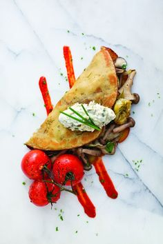 // Chickpea Crêpe (Farinata) with Mushrooms and Artichokes