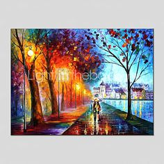 Oil Paintings Modern Landscape Rainy Street Canvas Material With Wooden Stretcher Ready To Hang SIZE:60*90CM. . 2016 - $47.49