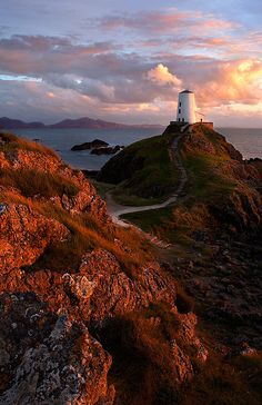 Llanddwyn Lighthouse in evening light, North Wales.