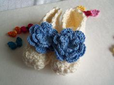 Creamy Crochet Baby Booties by Roxana010 on Etsy