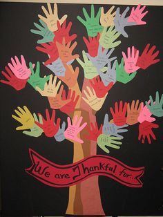 "Build a ""Thankful Tree"" in your classroom. Each child can share what he/she is thankful for on a leaf (their handprint!). A great way to talk about all that we are grateful for. #Thanksgiving #Preschool"
