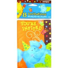 Jungle Animals Giraffe And Elephant Party Invitations With Envelopes - 8 Pack