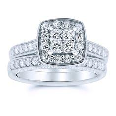 14K Gold Princess Cut Diamond Wedding Set Ornate Sides 1.00cttw