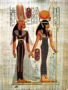 Nefertari (left in draped gown) led by Isis (right in sheath dress) garments from the Old Kingdom going into New Kingdom