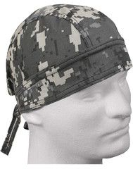 Camouflage Subdued Urban Gray Digital Head Wrap Doo Rag Camo Durag Skull Cap Cotton Sporty Motorcycle Hat