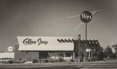 c. 1963 Ship's Coffee Shop | Culver City, CA -- Martin Stern Jr. is credited as a pioneer of Googie style architecture in Los Angeles and later in Las Vegas; his first of that style was Ship's Coffee Shop. Three Ship's Coffee Shops operated in the Los Angeles area from 1956 until the 1990s.