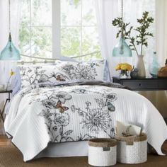 Quilts & Comforters - Oversized Quilts, Comforter Sets, Reversible Quilts from Through the Country Door® Butterfly Quilt, Butterfly Pattern, Black And White Quilts, Black White, Embroidered Quilts, Embroidered Butterflies, New Beds, Dream Bedroom, Master Bedroom