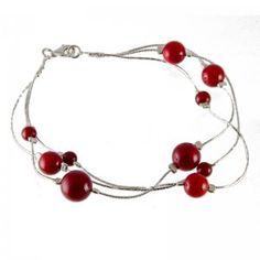 Coral Silver Strand Bracelet