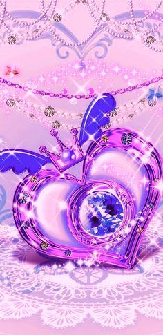 Heart Iphone Wallpaper, Diamond Wallpaper, Love Wallpaper, Wallpapers Sailor Moon, Beach Sunset Wallpaper, Pink Bling, Glitter Hearts, Purple Backgrounds, Junk Drawer