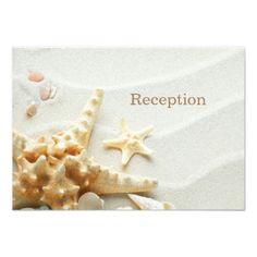 Save the Date Beach Wedding Beach, Shells and Sand Wedding Reception Card