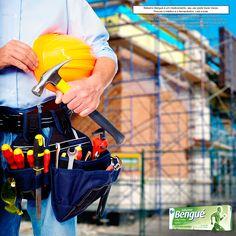 Trabalhar na construção pesada, em consertos ou reparos de instalações elétricas ou hidráulicas são atividades que exigem muito esforço físico. Em caso de dores resultantes do esforço, tenha #BálsamoBengué sempre a mão.
