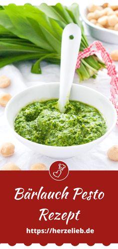 Bärlauch Rezepte, Dip Rezepte: Rezept für Bärlauchpesto von herzelieb. Ohne Pinienkerne mit Macadamia Nüssen. Bärlauch Pesto ganz einfach und schnell. Schmeckt zu Nudeln, Brot, Fleisch und Fisch. #herzelieb #dips #pesto #bärlauch Garlic Recipes, Dip Recipes, Easy Recipes, Wild Garlic Pesto, Amazing Food Photography, Potato Pasta, Pesto Recipe, Palak Paneer, Quick Easy Meals