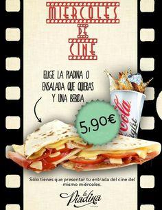 Menú Miércoles de Cine en La Piadina Riminese. Piadina o ensalada a elegir y una bebida, 5,90€, presentando la entrada del cine del mismo miércoles.