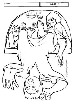 Acts Pauls Third Journey Eutychus Falls Asleep Out Of The Window Coloring Page