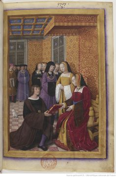 Jean Marot offre son livre Le Voyage de Gênes à Anne de Bretagne (c.1508) - miniature by Jean Bourdichon