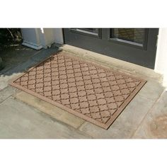 Aqua Shield Cordova Mat Size: 2' x 3', Color: Gold by Bungalow. $34.99. 20326640023 Size: 2' x 3', Color: Gold Features: -Surface material: Premium 24 oz. polypropylene.-Origin: USA.-Green friendly with over 20pct recycled rubber backing.-Low profile design allows most doors to glide easily over it.-Will not crush, fade, mold, mildew or rot.-Anti-static and flame resistant.-Suitable for multiple uses throughout your home, outdoor space, workplace or garage.-Easy t...