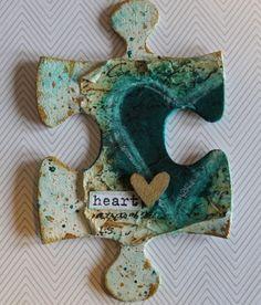 lori smith puzzle-teal crayon spray heart