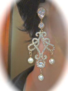 Gold Chandelier earrings // Vintage inspired by QueenMeJewelryLLC, $52.99