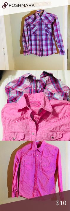Girls Cowgirl Hardware Pearl Snap Shirts Girls Cowgirl Hardware Pearl Snap Shirts. This sale is for 2 Cowgirl Hardware snap button down shirts. Pink shirt has a bedazzled horse on back of shirt. The purple plaid has small diamond design on back, These are in excellent condition! Perfect for your little cowgirl. Young girls ages 10-12 Size Large. Shirts & Tops Button Down Shirts
