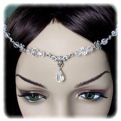 Floral Crystal Renaissance Medieval Circlet Headpiece Headdress Wedding Bridal Prom Head Piece Hair Accessory. $22.00, via Etsy.