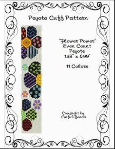 Peyote Bracelet Pattern Flower Design by CinfulBeadPatterns