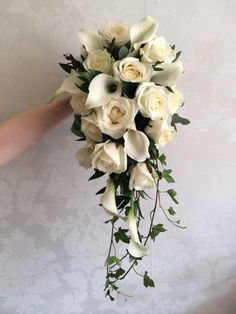 White roses calla lily shower bouquet created by Lily White florist