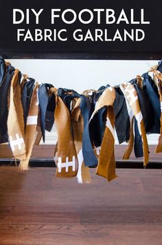 College football season is here! It's time to throw football viewing parties, complete with football party decorations. shares the step-by-step for her DIY football fabric garland on our b (Diy Crafts For College) Football Banquet, Fall Football, Football Tailgate, Football Birthday, Football Parties, Football Cheer, Boy Birthday, Birthday Cakes, Football Party Decorations