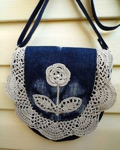 "New Cheap Bags. The location where building and construction meets style, beaded crochet is the act of using beads to decorate crocheted products. ""Crochet"" is derived fro Crochet Handbags, Crochet Purses, Crochet Bags, Handmade Handbags, Handmade Bags, Handmade Leather, Blue Jean Purses, Crochet Purse Patterns, Denim Bag Patterns"
