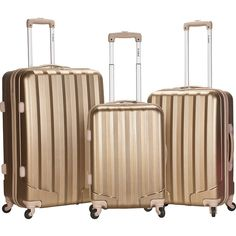 Rockland Santa FE 3-Piece Hardside Spinner Luggage Set - Bronze -... ($145) ❤ liked on Polyvore featuring bags and luggage