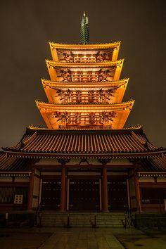 Five-story pagoda of Senso-ji temple, Tokyo, Japan