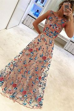 embroidery floral homecoming dress, 2017 homecoming dress, long home coming dress, party dress