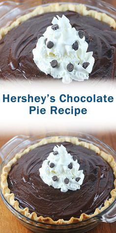Hershey's Chocolate Pie Recipe Tart Recipes, Best Dessert Recipes, Sweets Recipes, Fun Desserts, Delicious Desserts, Chocolate Pie Recipes, Chocolate Desserts, Chocolate Pudding, Pie Dessert