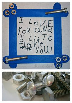 Nuts & Bolts Frame Fathers Day Craft for Kids from Fun-A-Day! Easy Father's Day gift to make for the handyman or construction Dads. Homemade Fathers Day Gifts, Diy Father's Day Gifts, Father's Day Diy, Gifts For Father, Kids Crafts, Toddler Crafts, Preschool Crafts, Sheep Crafts, Art Crafts