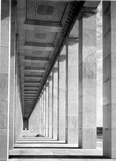 Colonnade of the Zeppelin Field in Nuremberg, Germany. The building is designed by ALbert Speer between 1935 and 1937 in the typical pared down neo-classicism of that time.