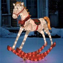 52 lighted and animated glistening rocking horse christmas yard art decoration - Christmas Animatronics