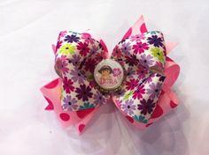 Pink Polka Dot/ Daisy Dora Bottlecap Bow- $8.00